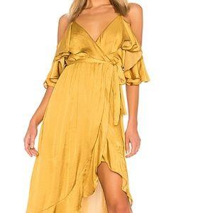Bardot Bea Wrap Dress in Gold (REVOLVE) NWT